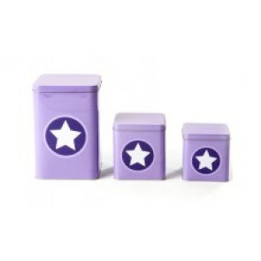 Set of 3 Metal Boxes in Lavender