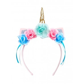 Unicorn Hairband with Flowers and Ribbons