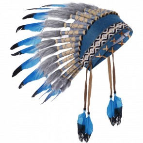 Navanjo Chief Indian Head Dress in Aqua Brown