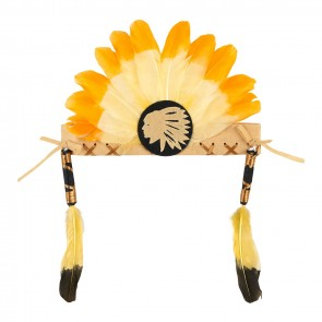 Anoki Indian Feather Head Band Orange
