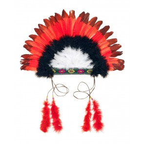 Indian Head Dress in Red/ Black