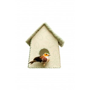 Birdhouse Wall Sticker with Green Flowers