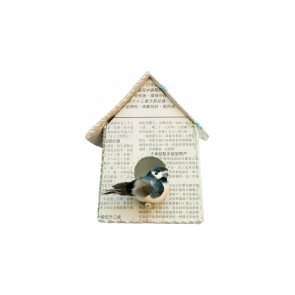 Birdhouse Wall Sticker Newspaper Pattern