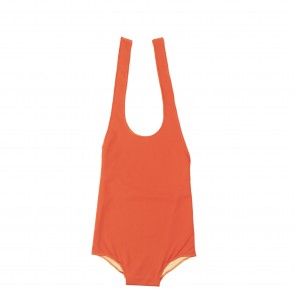 Reversible Halter Neck Swimsuit in Orange & Light Orange
