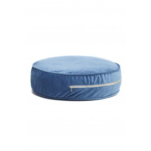 Round Velvet Floor Cushion in Royal Blue