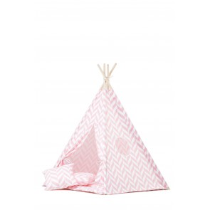 Teepee Set with Pink Herringbone