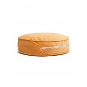 Round Velvet Floor Cushion in Mustard