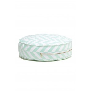 Round Herringbone Floor Cushion in Mint