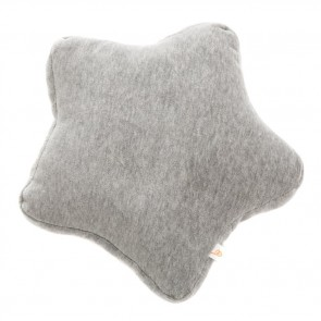 Small Velvet Star Cushion Grey