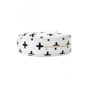 Round Floor Cushion with Black Crosses