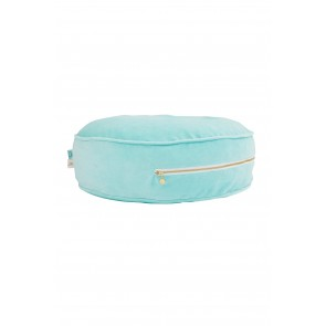 Round Velvet Floor Cushion in Mint