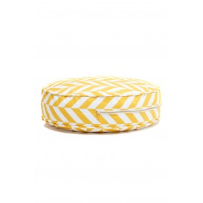 Round Herringbone Floor Cushion in Yellow