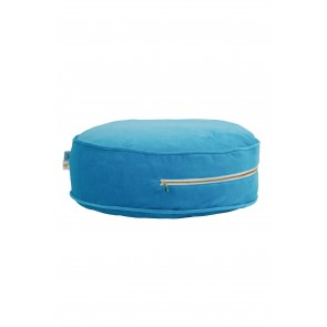 Round Velvet Floor Cushion in Petrol