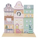 Wooden Stacking Blocks Dutch Houses in Adventure Pink