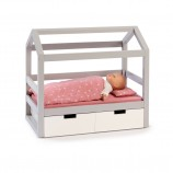 Doll House Bed Viola in Grey/ White