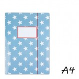 DIN A4 Elasticated Folder in Light Blue with White Stars