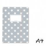 DIN A4 Elasticated Folder in Grey with White Stars