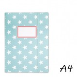 DIN A4 Elasticated Folder in Turquoise with White Stars
