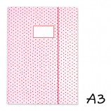 DIN A3 Pink Elasticated Folder with Dabs