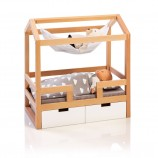 Doll House Bed Barlia in Natural/ White