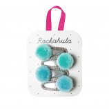 Mini Pom Pom Clips Blue