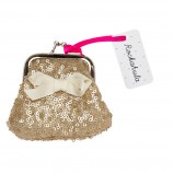 Mini Sequin Purse in Gold with Ivory Ribbon Bow