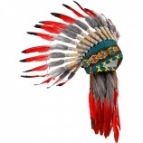 Ituha Chief Indian Head Dress in Red/ Black